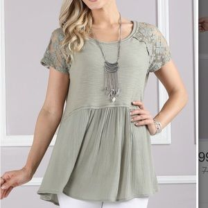Tops - Olive green flowy top NWOT